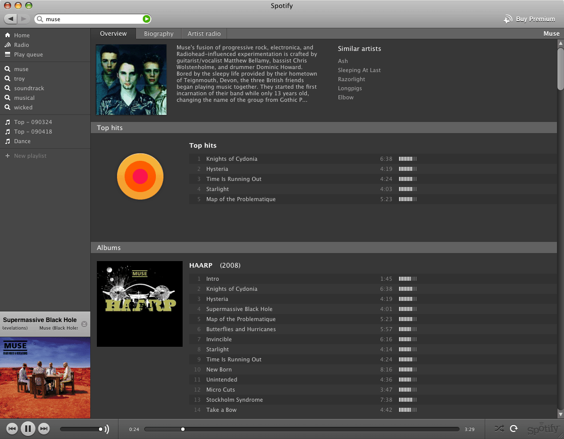 Screenshot von Spotify